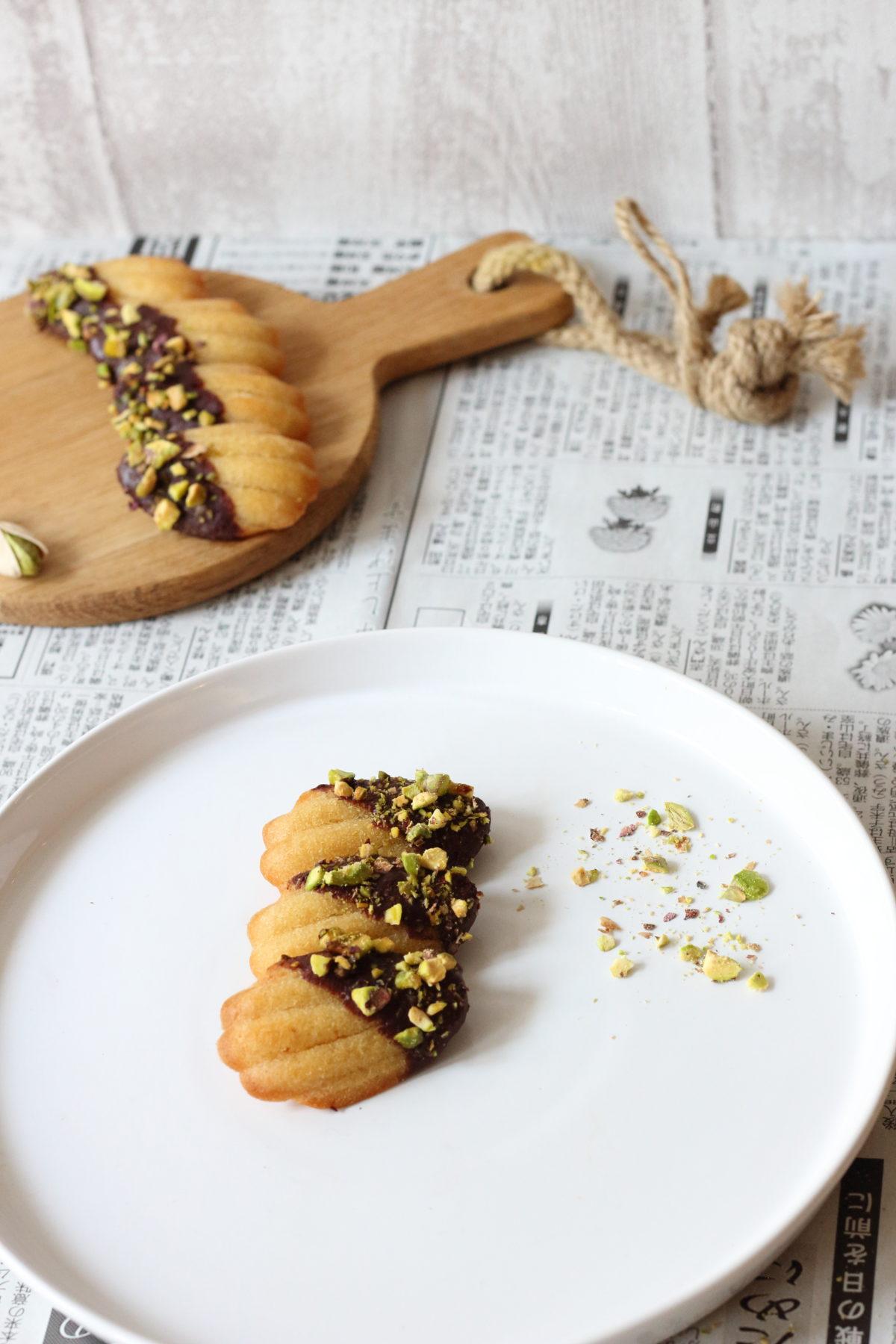 Madeleines Vanille - chocolat - pistache (sans gluten et vegan)