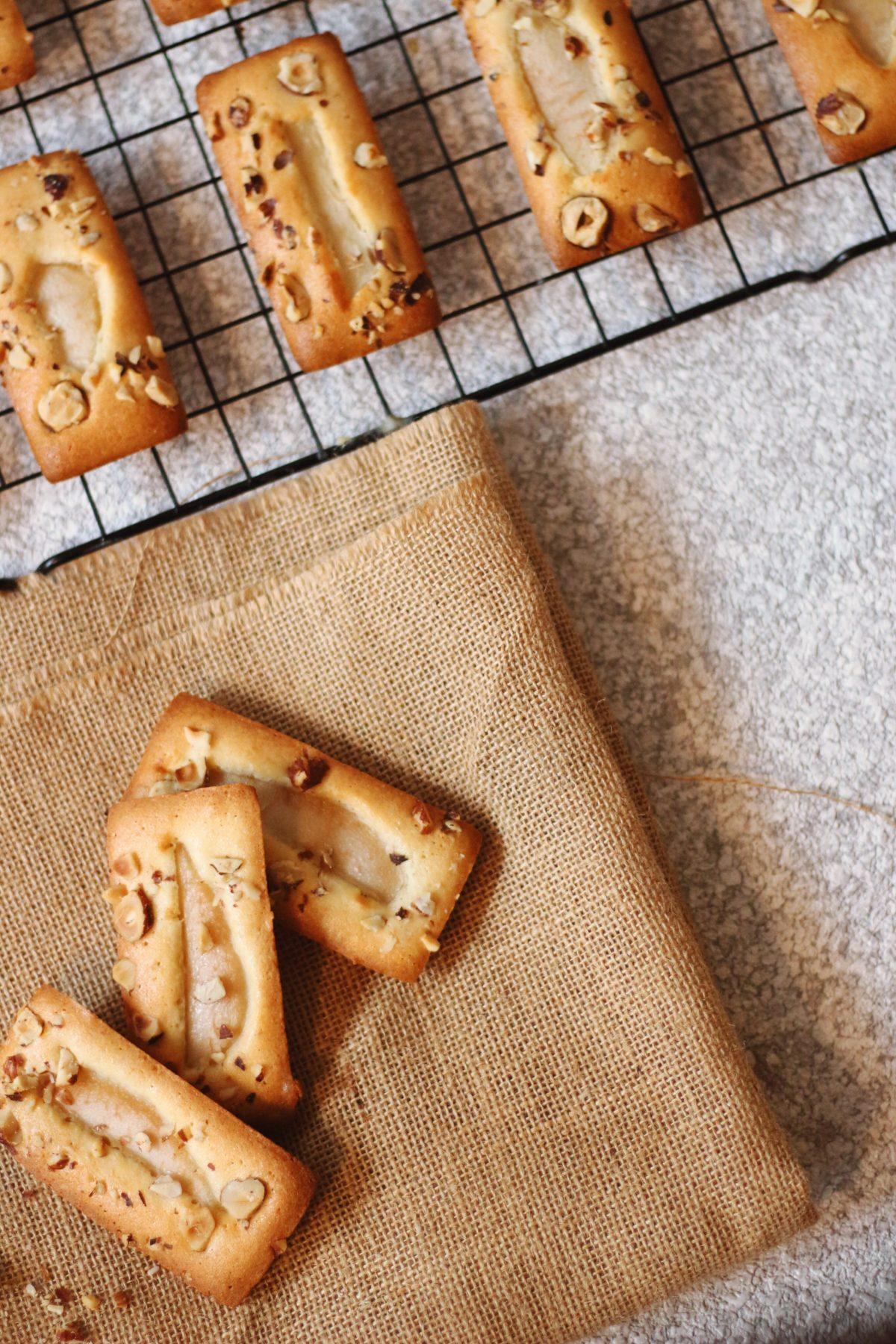 Pear & Hazelnut Financier cakes