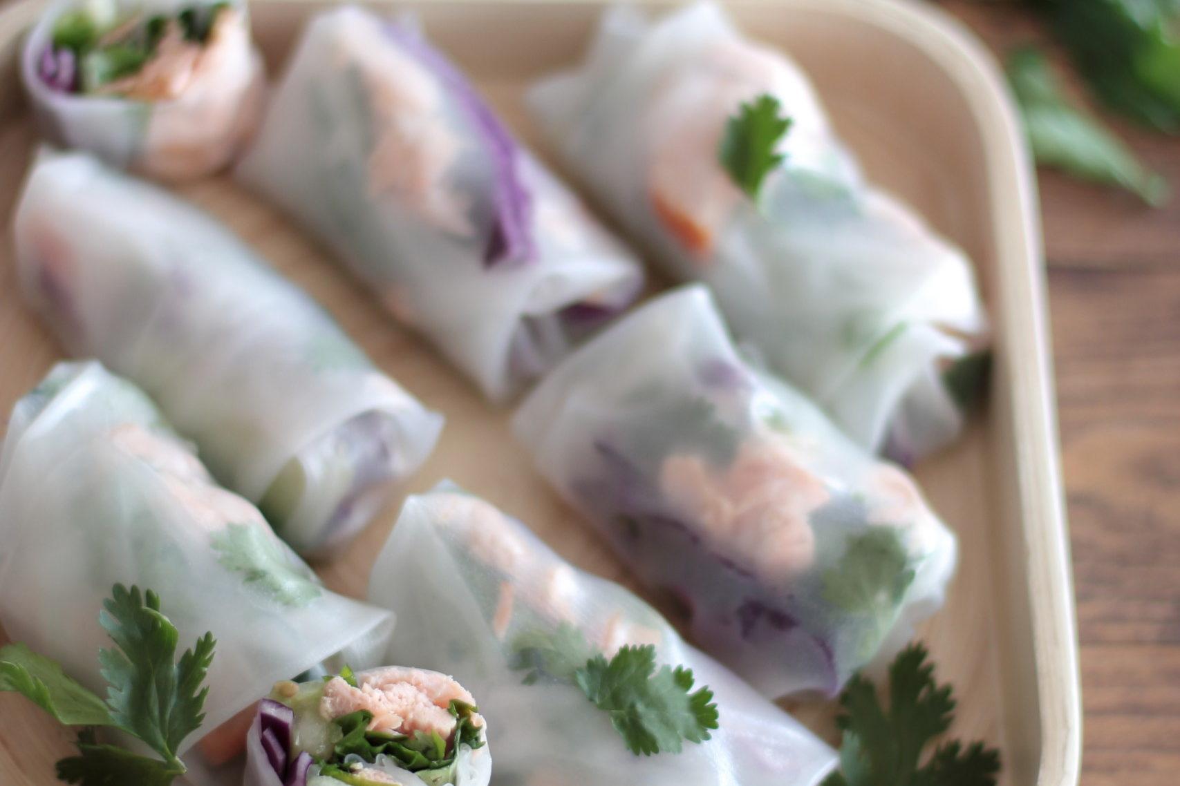 Fresh Salmon & veggie Spring rolls
